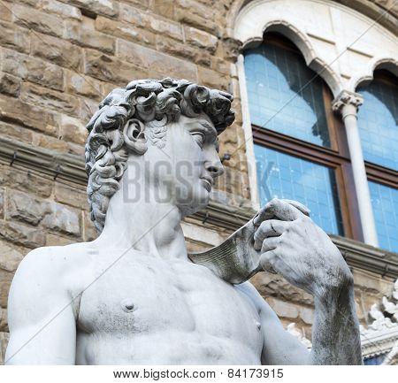 Florence (Firenze Tuscany Italy): statue of David di Donatello in Piazza della Signoria poster