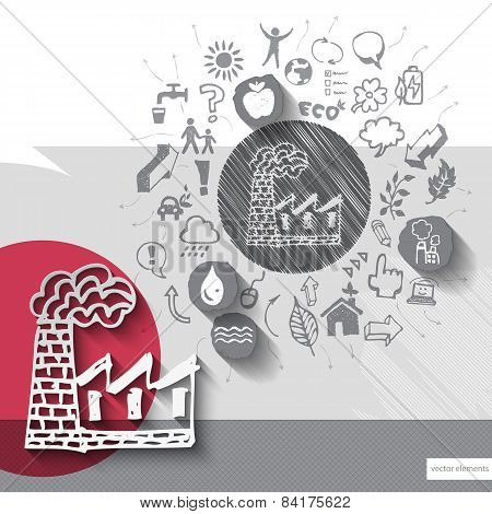 Paper and hand drawn factory emblem with icons background
