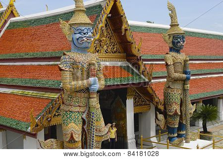 Exterior of the giant daemons-guards in Wat Phra Kaew complex in Bangkok, Thailand.