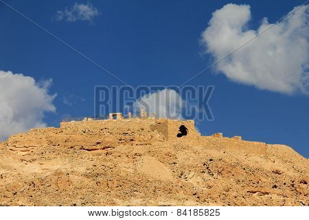 Negev Desert . Mountain  Avdat With Antic  Nabatean City