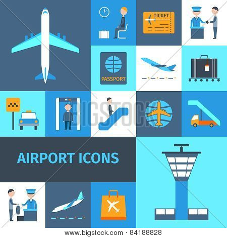 Airport Decorative Icons Set