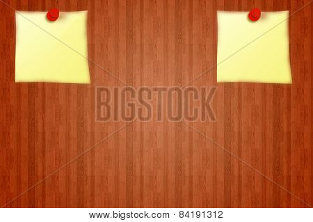 2 Yellow stickers on red wooden board background from notice