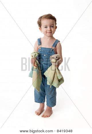 Toddler With Bear and Blanket