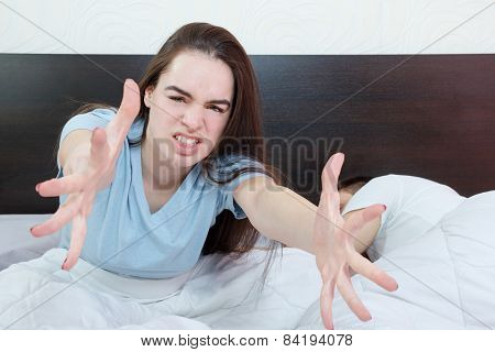 Dissatisfied Beautiful Young Woman In Bed Asking For Someone Else,