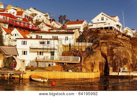 Colorful Houses On Rocks