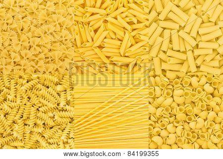 Italian Pasta Raw Food Collection Background Texture. Spaghetti Farfalle Macaroni Penne Pipe Rotini