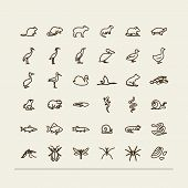 Set with icons - fauna of fresh reservoirs - bogs lakes rivers. A vector. poster