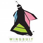 Stylized logo icon template of a wingsuit base jumping equipment poster