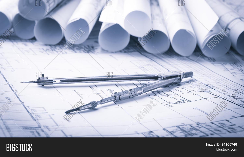 Imagen y foto rolls architecture blueprints house bigstock rolls of architecture blueprints and house plans malvernweather Images