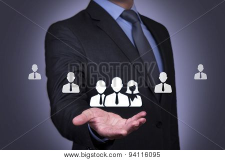 Human Resource on Businessman Hand