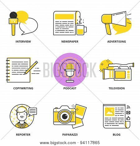 Journalism And Mass Media Vector Icons Set