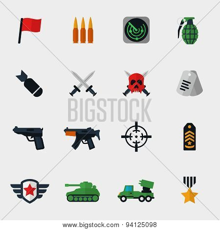 Military and war icons flat
