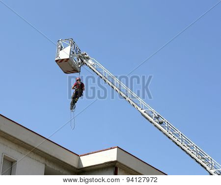 Firefighter Down With The Rope In The Building