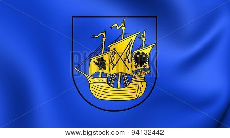 3D Flag of the Wittmund District Germany. Close Up. poster