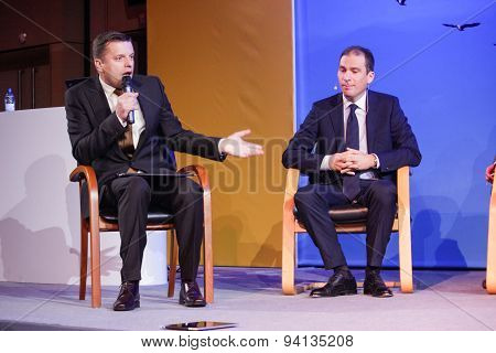 Moscow, Russia - May 17, 2011: Russian Tv Director Leonid Parfenov (left) And  Sap Russia Ceo Vladis