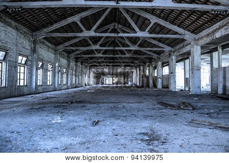 Empty Industrial Loft In An Architectural Background With Bare Cement Walls And Floors, Blue Tone
