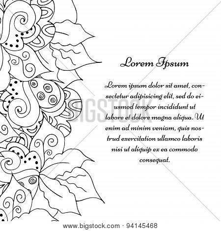 Hand drawn floral doodle border.