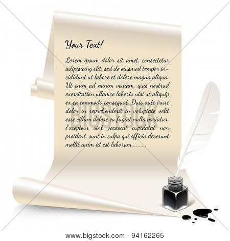 Vintage banner in the form of white paper with an inkwell and feather. Vector Illustration