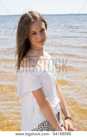 Lovely Young Girl Posing For The Camera On Holidays