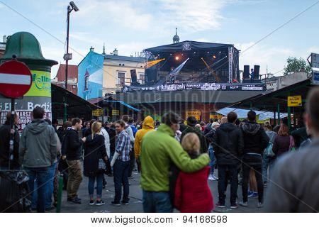 KRAKOW, POLAND - JUN 20, 2015: Unidentified participants start celebrating the Kupala Night (Polish: Noc Kupaly). Celebration relates to the summer solstice and includes a number of Slavic rituals.