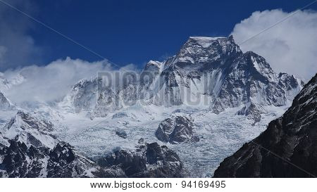Hungchhi high mountain in the Everest Region. Nepal-China border. View from Gokyo Ri. poster