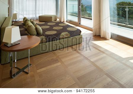 Interior of a modern apartment furnished, comfortable bedroom