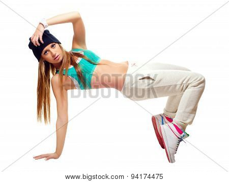 Hip Hop Dancer Dancing Isolated On White Background.