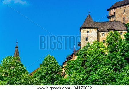Towers of Orava Castle clear blue sky, Slovakia