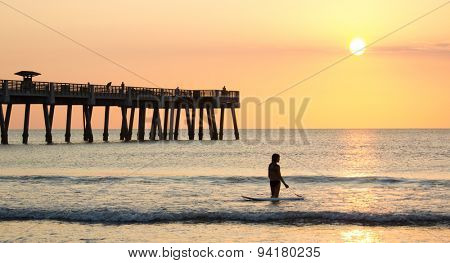 Early morning at the pier in Jacksonville Beach, Florida.