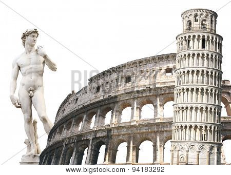 Leaning Tower of Pisa, Colosseum and Michelangelo's David. Isolated over white
