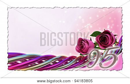 birthday concept with pink roses and sparks - ninetyfifth, birthday, ninety-fifth, 95th, 95, poster