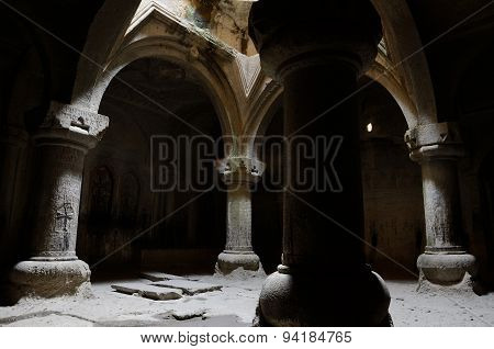 Interior Of Medieval Christian Temple Geghard With Columns, And Ancient Inscriptions ,armenia,Unesco