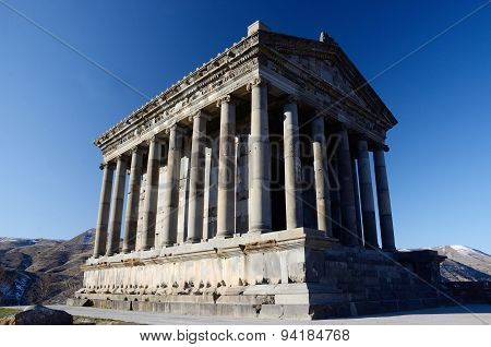 Pagan sun temple, Garni,Armenia. Classical Hellenistic building unesco heritage site