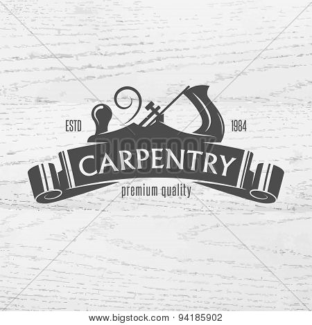 Carpenter design element in vintage style for logo, label, badge, t-shirts. Carpentry retro vector illustration. poster