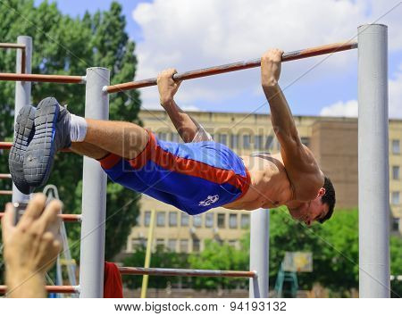 Unidentified Athlete Performs During The Street Workout Championship At Krivoy Rog