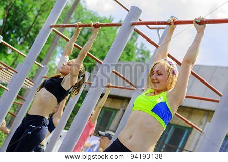 Girls Competet During The Street Workout Championship At Krivoy Rog City Games