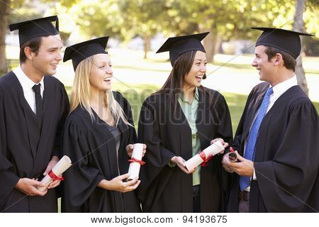 Group Of Students Attending Graduation Ceremony poster