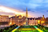Brussels Cityscape from Monts des Arts at dusk, Belgium poster