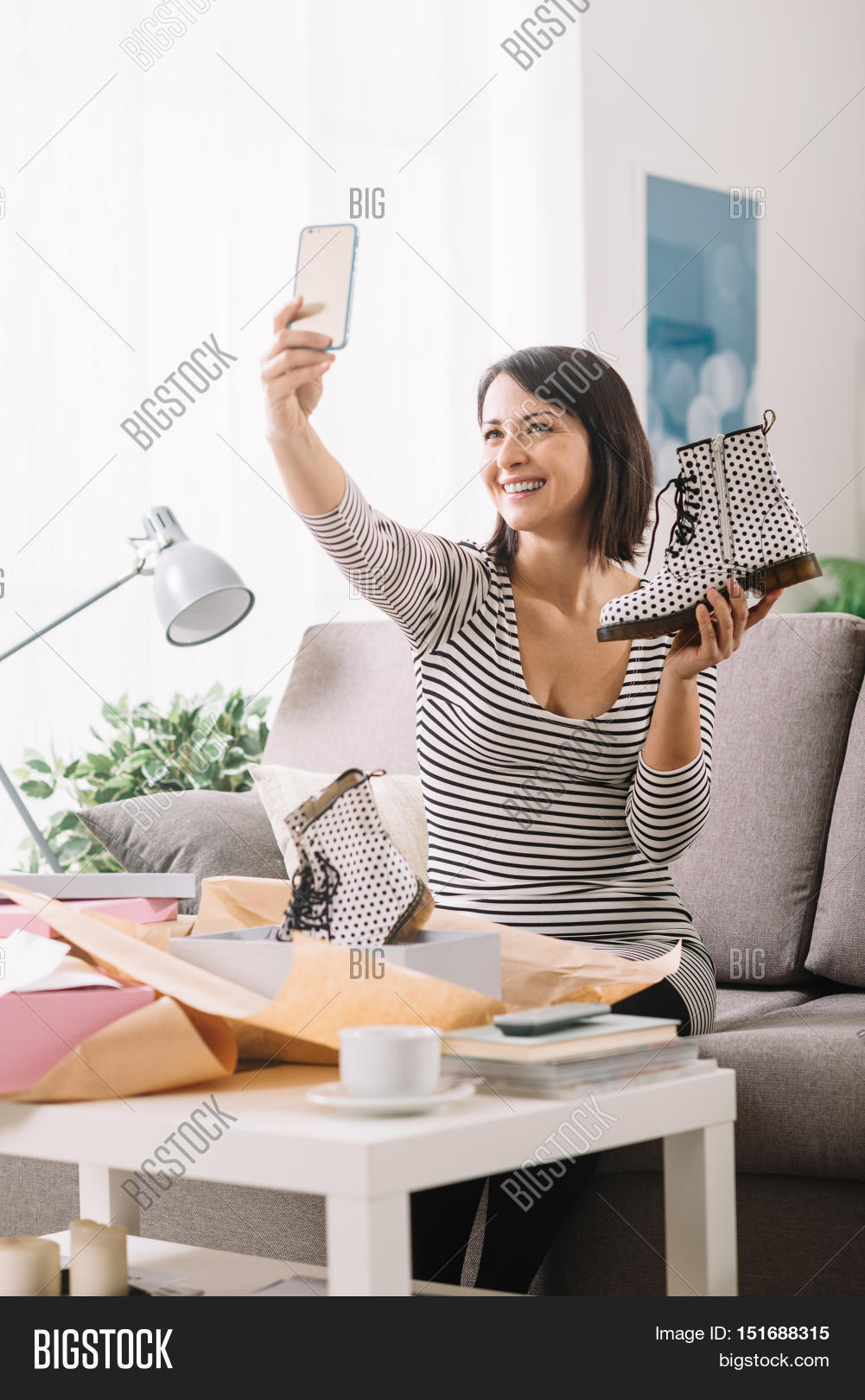 Smiling Woman Unboxing Image Photo Free Trial Bigstock