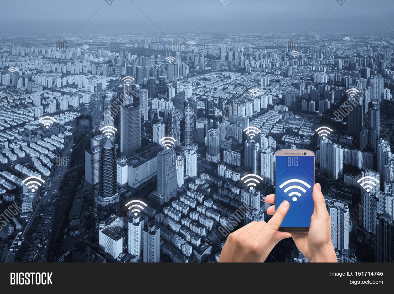 wifi icon paris city network image photo bigstock. Black Bedroom Furniture Sets. Home Design Ideas