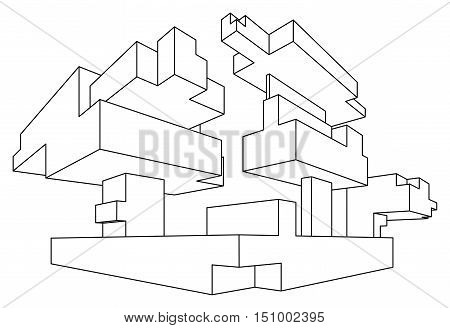 Rectangular shape in linear perspective with two point of vanishing isolated on white