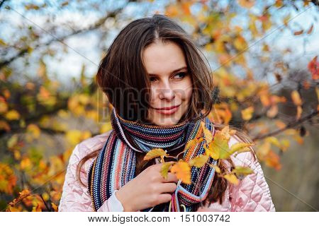 Closeup Outdoors Portrait Of Gorgeous Young  Caucasian Woman.  O