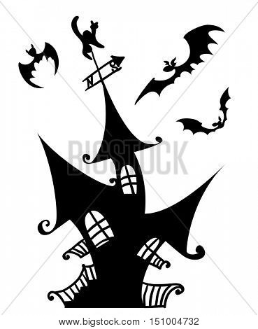 Halloween scary haunted house vector Illustration isolated on white background