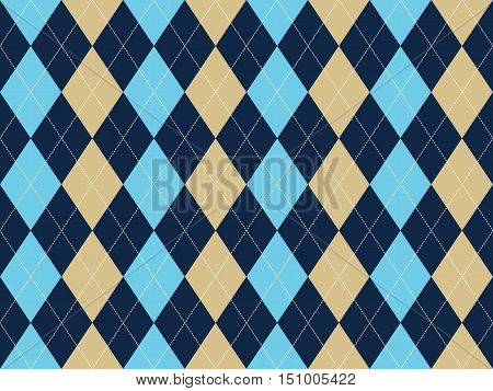 Blue beige white argyle seamless pattern. Flat design. Vector illustration.