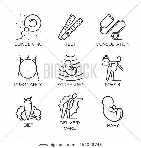 Outline symbol collection. Black line icons set of stages pregnancy, tips for pregnant women. Stroke vector logo concept medical consultation for web graphics. Simple mono linear pictogram pack.