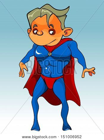 cartoon funny the guy superman in the blue jumpsuit with a red Cape