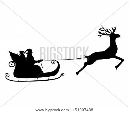 Santa Claus rides in a sleigh in harness on the reindeer poster