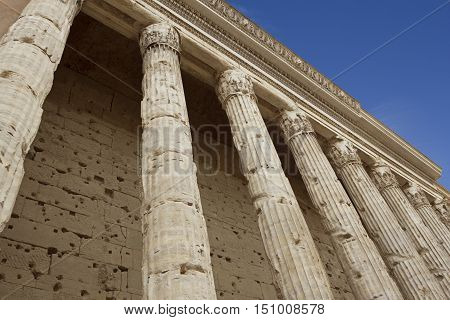 Italy Europe ancient roman pantheon temple front view at classical columns portico colonnade Rome