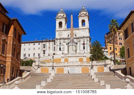 The Spanish Steps in Rome over blue sky Italy