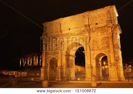 Arch of Constantine at the Roman Forum in Rome at night Italy